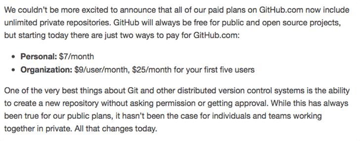 GitHubがプライベートリポジトリ作成を無制限に!!