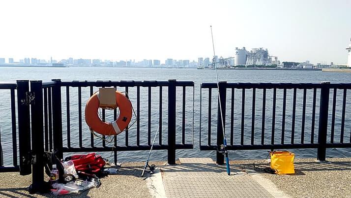若洲海浜公園でキャンプ時々釣り!イワシはくじら騒動で逃亡??