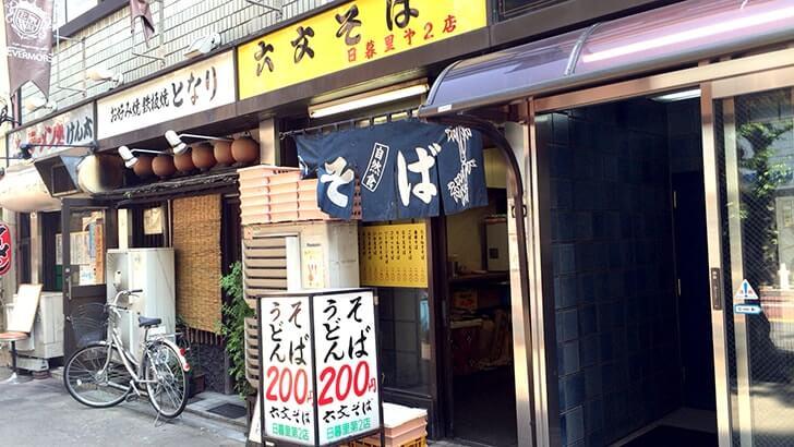 日暮里の立ち食い蕎麦屋『六文そば』かけそばがなんと200円!